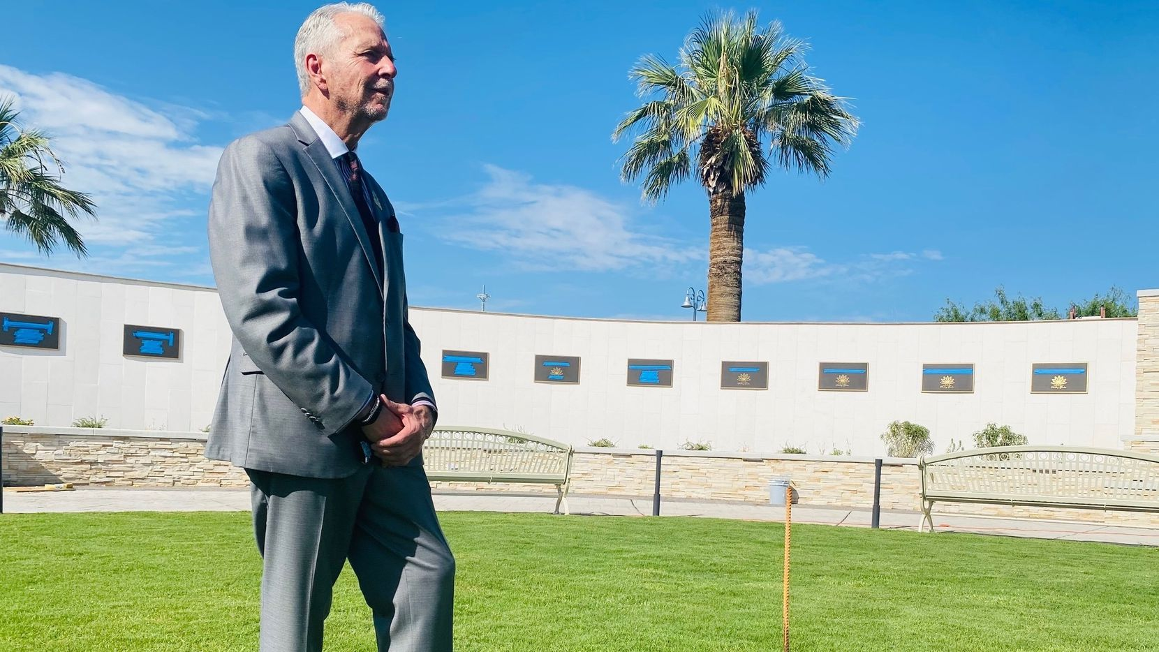 El Paso County Judge Ricardo Samaniego tours the new garden created to remember and honor the lives of those who died on Aug. 3, 2019.