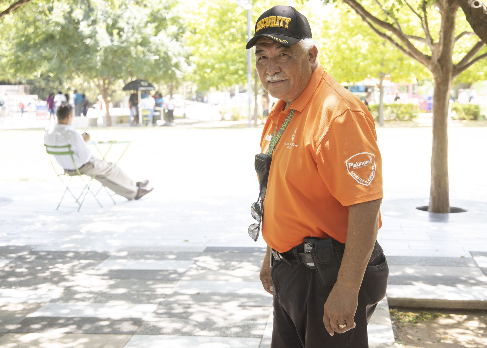 """""""I know all about the heat. I've worked in it all my life,"""" said Ernest Munoz, security guard at Klyde Warren Park."""