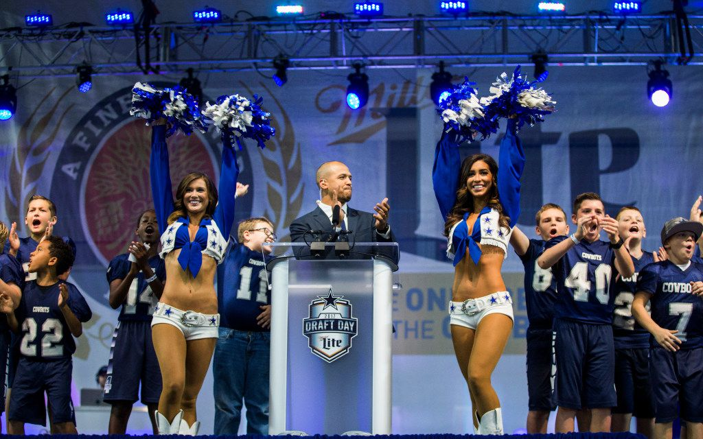 Former Dallas Cowboys wide receiver Miles Austin, Dallas Cowboys cheerleaders and the Cowboys youth football team announce the Cowboys' sixth round draft pick during day three of the Dallas Cowboys' 2017 NFL Draft Party on Saturday, April 29, 2017 at The Star in Frisco, Texas.