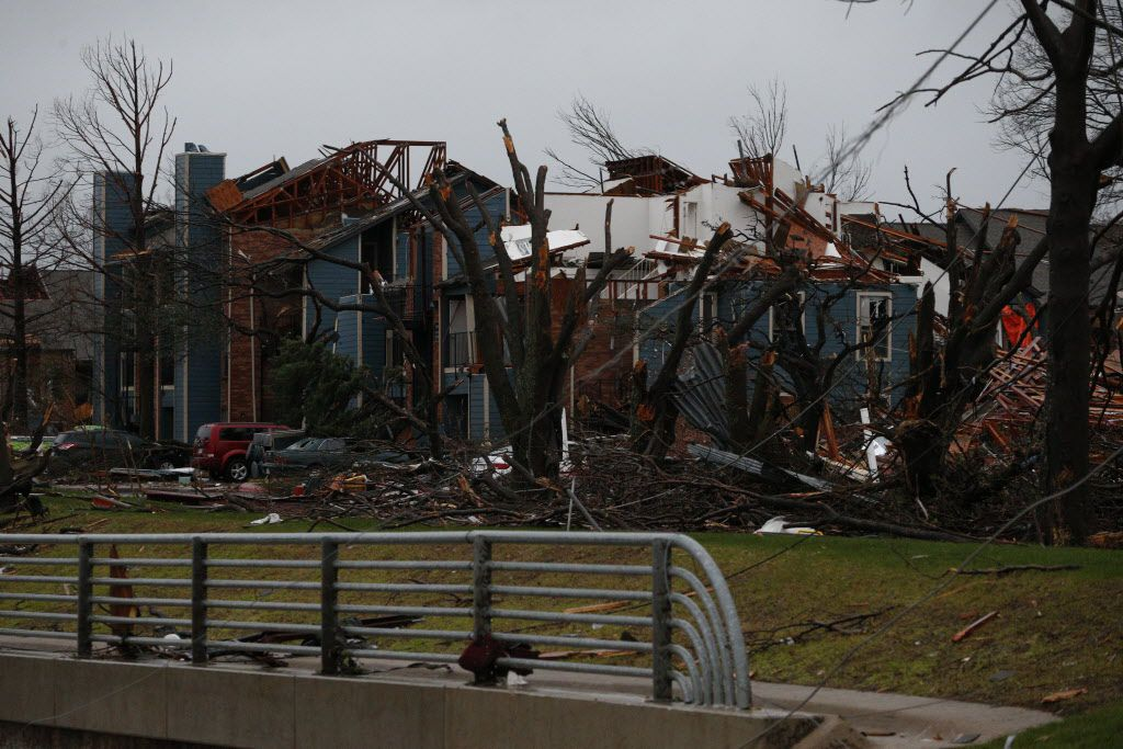 The Landmark at Lake Village West apartments on Interstate 30 were hit by a tornado December 26, 2015. (Nathan Hunsinger/Staff Photographer)