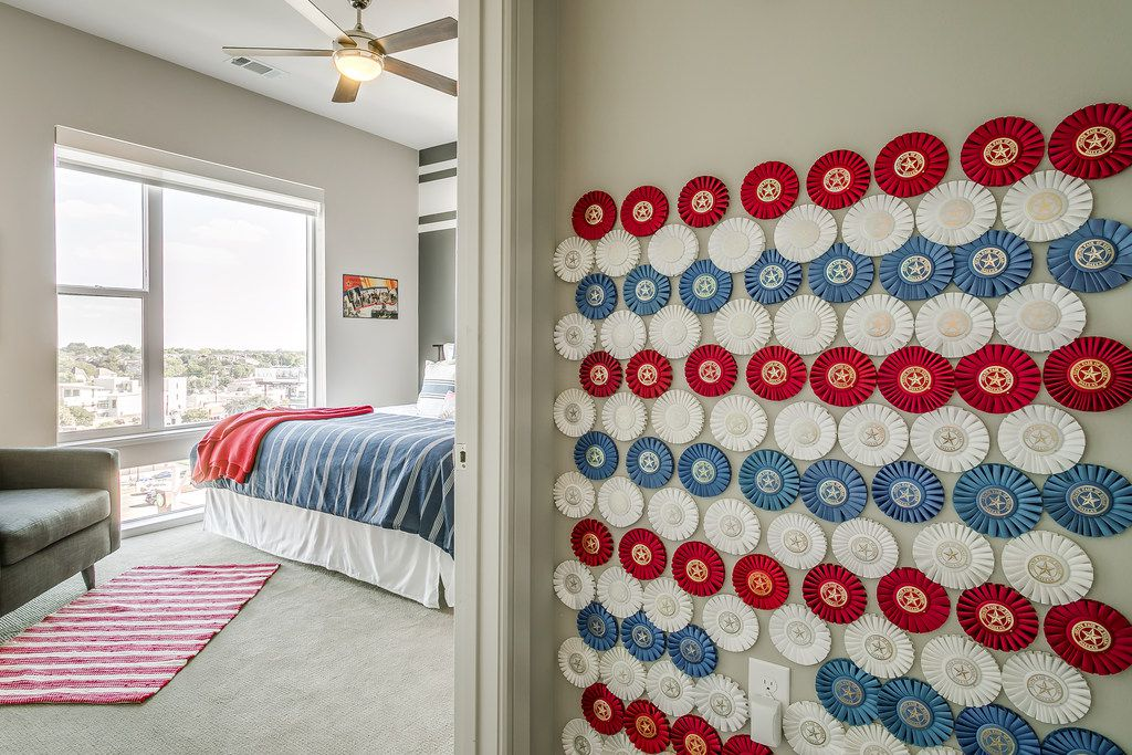 Vintage ribbons from the State Fair of Texas creative arts' contests line the walls.