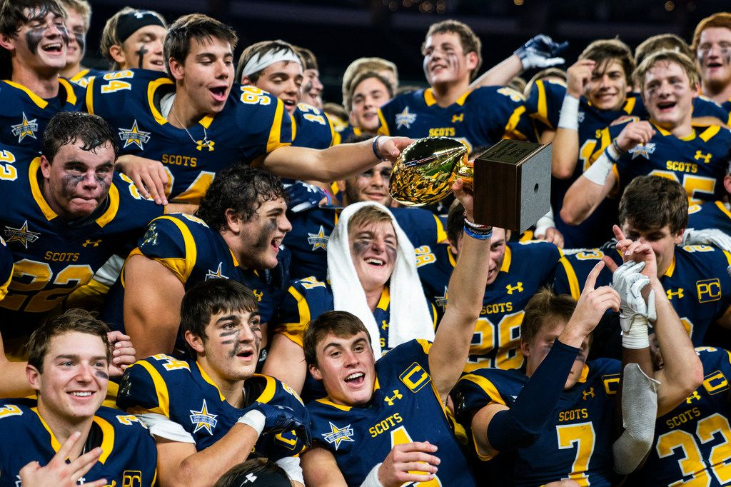 Highland Park football players celebrate a 63-28 win over Magnolia in a Class 5A Division I area-round playoff game on Thursday, November 21, 2019 at AT&T Stadium in Arlington. (Ashley Landis/The Dallas Morning News)