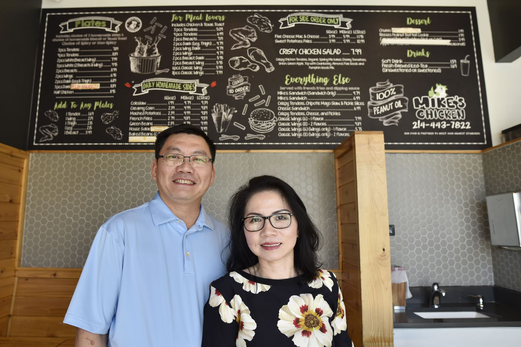 Son Dao, left, and Tram Dao, are co-owners of Mike's Chicken on Maple Avenue in Dallas.