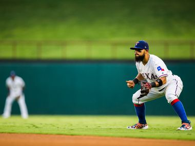 FILE - Rangers second baseman Rougned Odor (12) stands ready during the first inning of a game against the Boston Red Sox on Wednesday, Sept. 25, 2019, at Globe Life Park in Arlington.