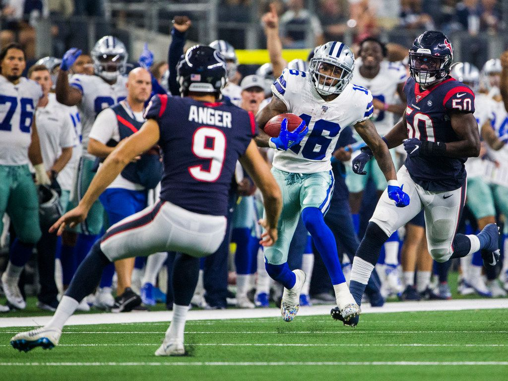 Cowboys wide receiver Cedrick Wilson (16) returns a punt during the second quarter of a preseason game against the Houston Texans on Saturday, Aug. 24, 2019, at AT&T Stadium in Arlington. (Ashley Landis/The Dallas Morning News)