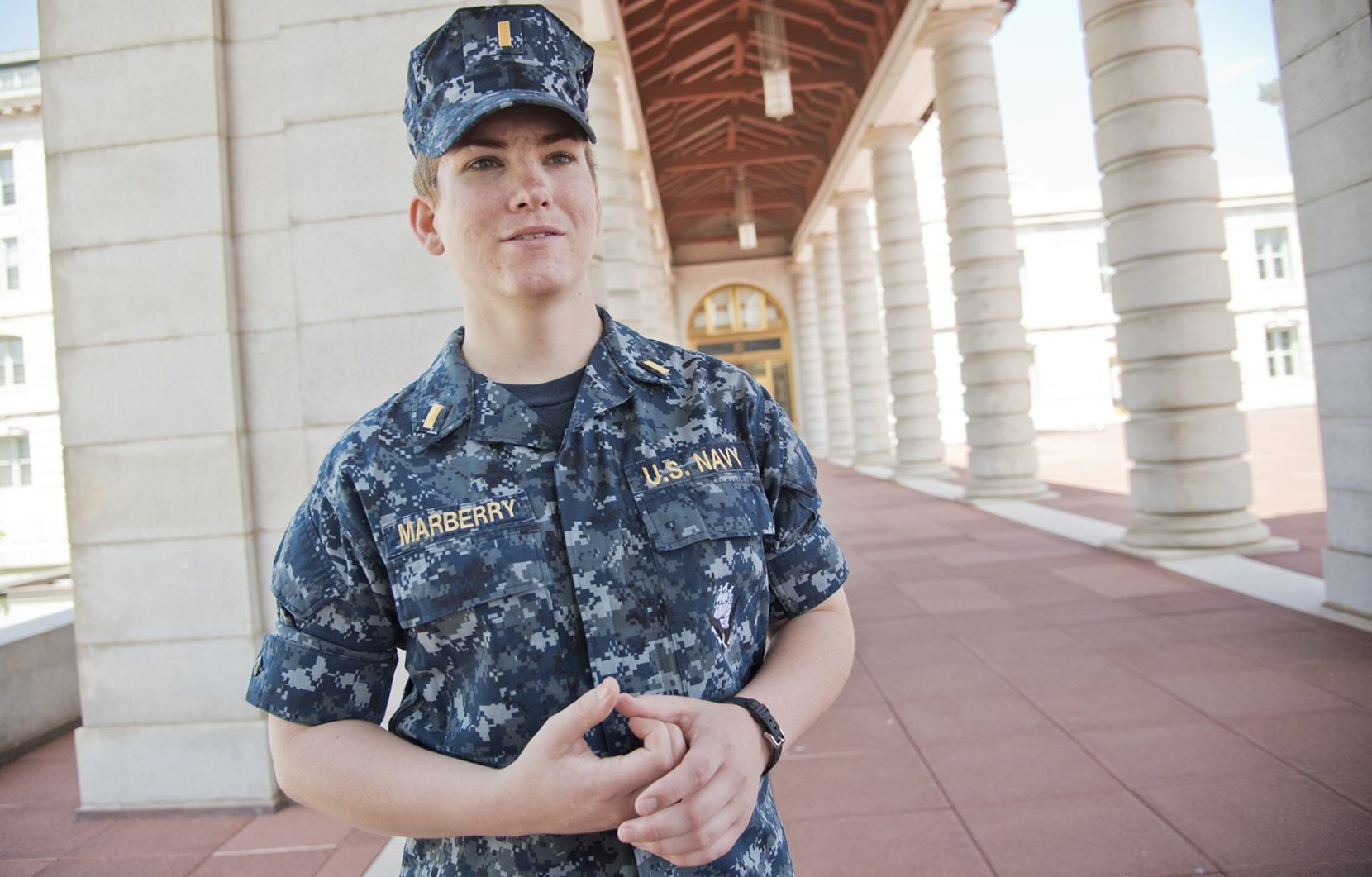 Ensign Ali Marberry, shown at the United States Naval Academy in 2016, was slated to start fighter pilot training when she came out as transgender and was disqualified from flight school. A policy change announced the following month by Defense Secretary Ash Carter lifted the U.S. military's ban on transgender troops.
