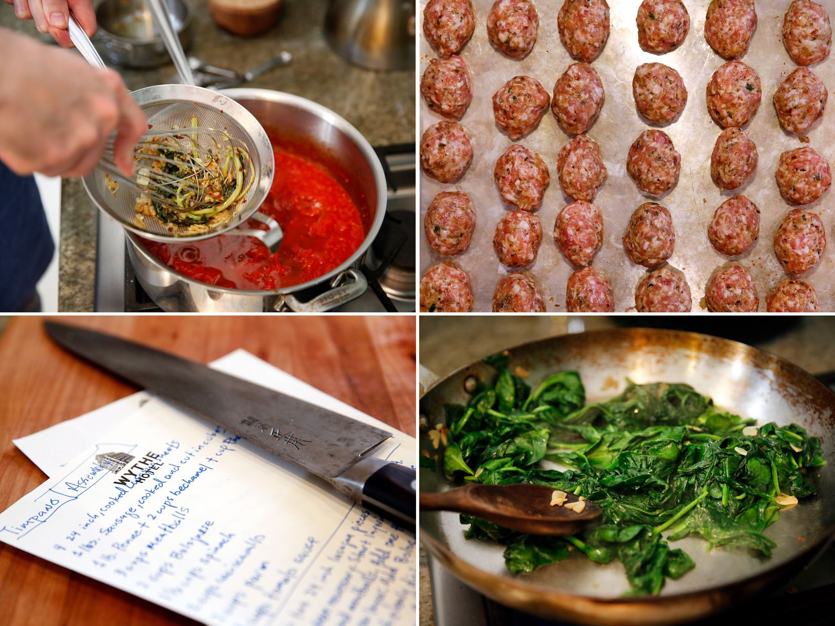 Clockwise from top left: Julian Barsotti strains bail-garlic oil into tomato sauce; chicken-pork belly meatballs; sauteing spinach; Barsotti's handwritten recipe (Tom Fox/Staff Photographer)