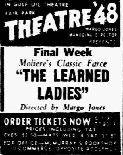 """Theater '48's advertisement for """"The Learned Ladies,"""" published in The Dallas Morning News on Nov. 23, 1948."""