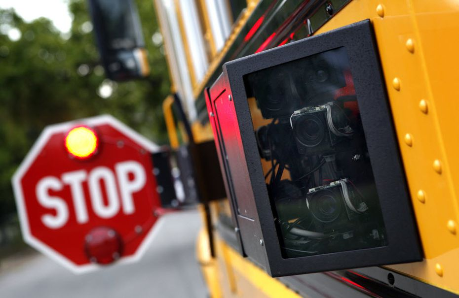 A Dallas County Schools bus mounted with the  cameras that were at the center of a massive fraud. The agency was shut down last year.