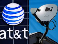 This file combo shows the AT&T logo on the side of a corporate office in Springfield, Ill., and a DirecTV satellite dish on a home in Los Angeles.