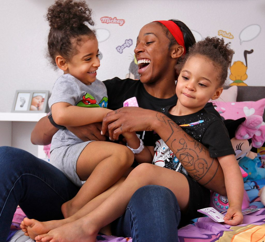 Glory Johnson and her daughters Solei and Ava.