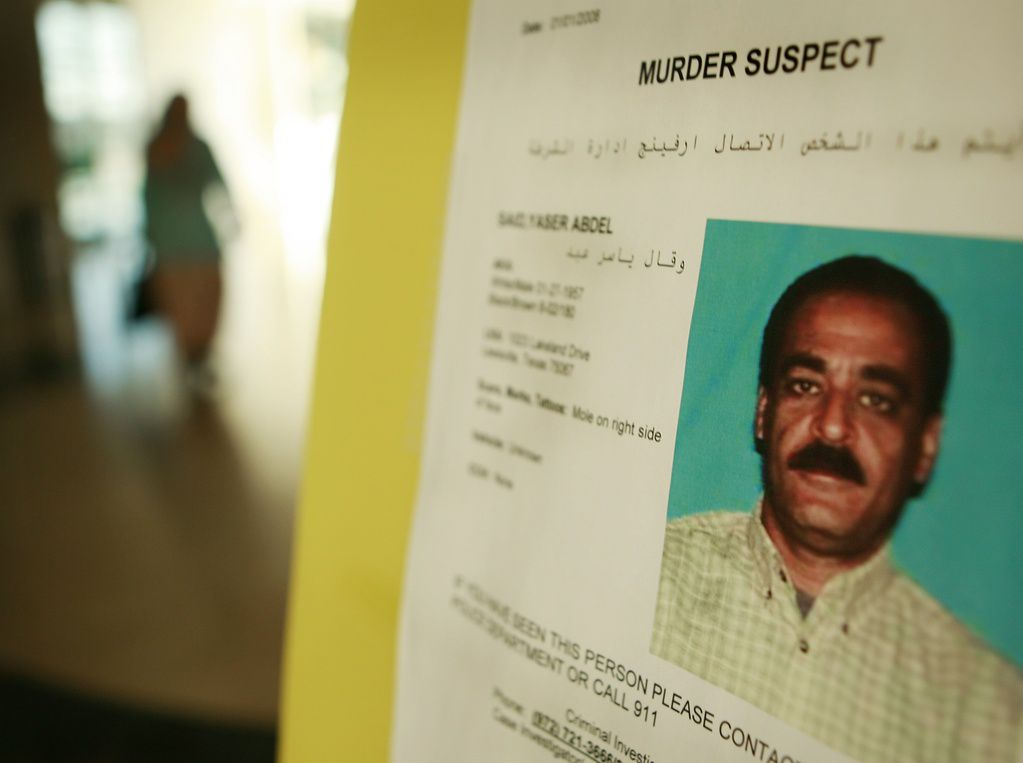 A police flier seeking Yaser Said was posted at the Islamic Center of Irving in 2008.