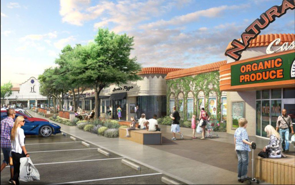 An artist's rendering of Casa Linda Plaza made more pedestrian friendly with expanded sidewalks, new trees and shrubbery.