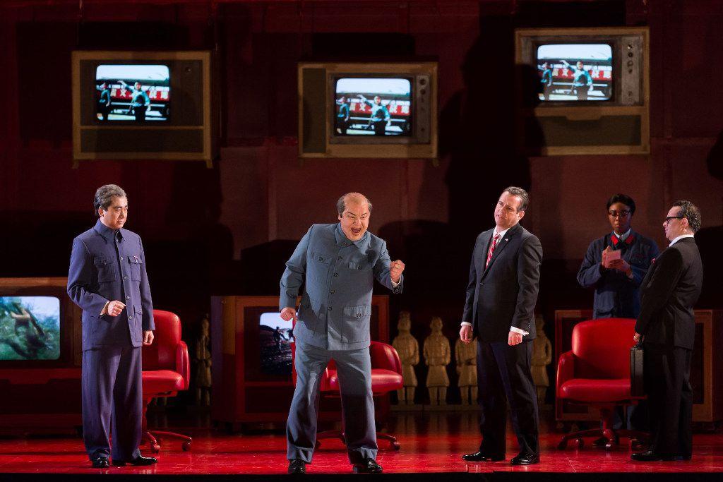 Chen-Ye Yuan as Zhou Enlai; Chad Shelton as Mao Zedong; Scott Hendricks as Richard Nixon; and Patrick Carifizzi as Henry Kissinger in the Houston Grand Opera production of Nixon in China.