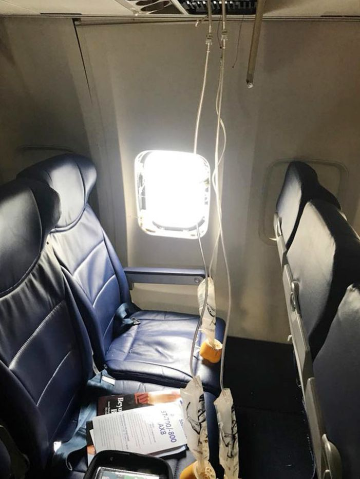 This window blew out on the Southwest Airlines plane after a fan blade broke off in an engine