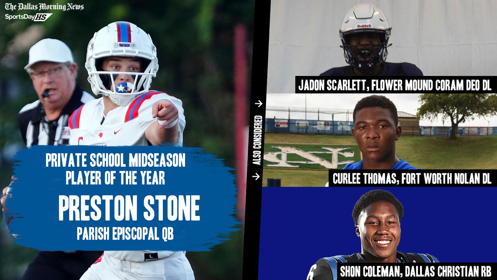 The Dallas Morning News' midseason awards for the 2020 football season: private school Player of the Year.