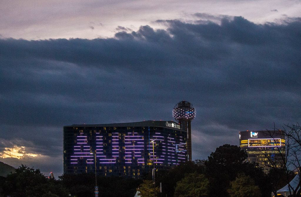 The Omni Dallas Hotel during Aurora in Dallas on Nov. 3, 2018. The art exhibition focuses on on light, video and sound art.