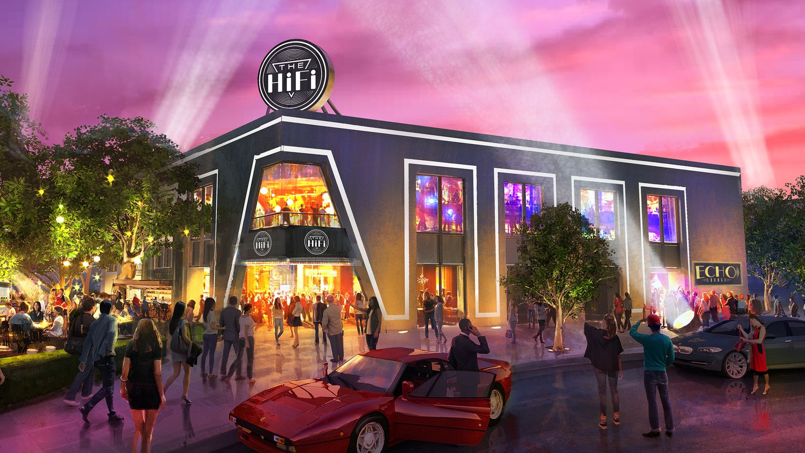 The exterior of The HiFi Dallas, now a Design District warehouse, which is set to open in May.