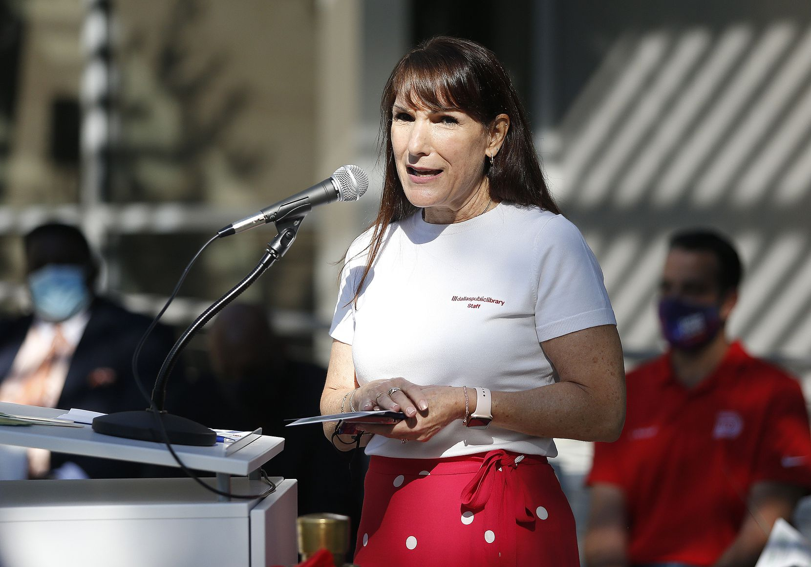 Jo Giudice, the city's library director, spoke before the ribbon cutting at the new Forest Green branch of the Dallas Public Library on Sept. 25.
