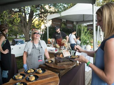 Chef Sharon Van Meter made smoked whole hog leg with loaded grits, during Chefs for Farmers at Oak Lawn Park.