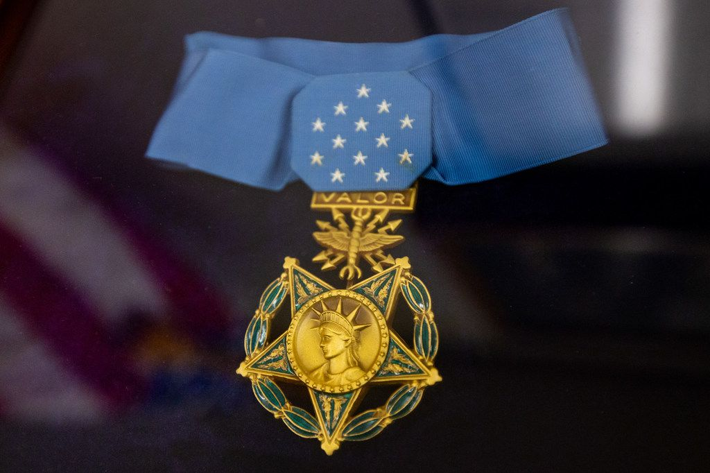 A Medal of Honor belonging to Arlington, Texas, native Neel Kearby is seen inside of Arlington City Hall on July 24, 2019. Kearby was an Army Air Force colonel and pilot who died in World War II. The city of Arlington is one of two finalists for a proposed site to build a new Medal of Honor museum.
