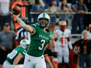 Southlake Carroll quarterback Quinn Ewers (3) throws a pass against South Grand Prairie during the first half of their high school football game in Southlake Texas on August 30, 2019.