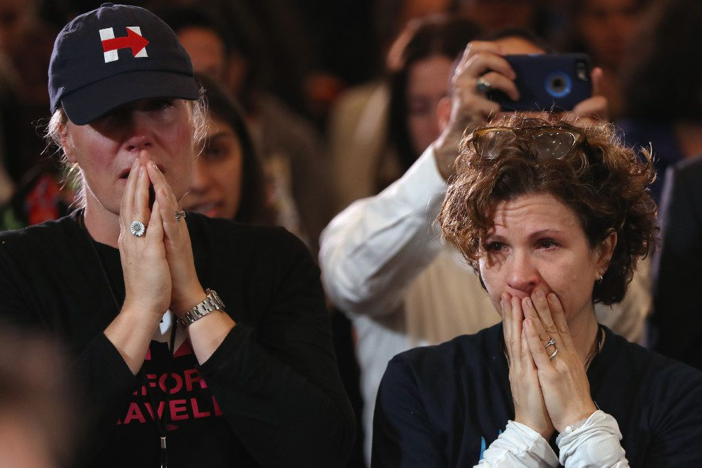 Staffers and supporters react as former Hillary Clinton concedes to Donald Trump.