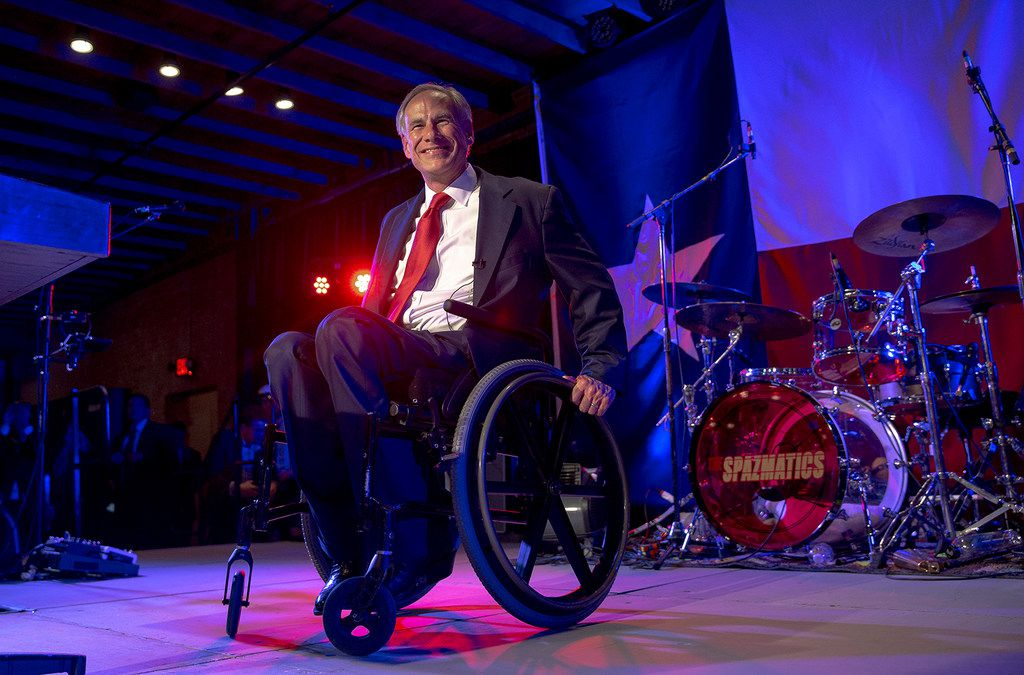 Texas Gov. Greg Abbott appears in front of a crowd of supporters during the Texas GOP election night party at Brazos Hall in Austin, Texas, on Tuesday, Nov. 6, 2018. Abbott defeated Lupe Valdez in his re-election bid. (Nick Wagner/Austin American-Statesman via AP)