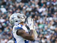 FILE - Cowboys defensive end Randy Gregory celebrates after sacking Eagles quarterback Carson Wentz during the second half of a game at Lincoln Financial Field on Sunday, Jan. 1, 2017, in Philadelphia.