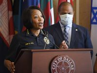 Dallas Chief of Police Renee Hall, left, and Dallas Mayor Eric Johnson, right, conduct a press conference addressing the Friday night protests in honor of Mr. George Floyd, Saturday, May 30, 2020. Mayor Johnson and Chief Hall are calling for peace and calm for this weekend's protests.