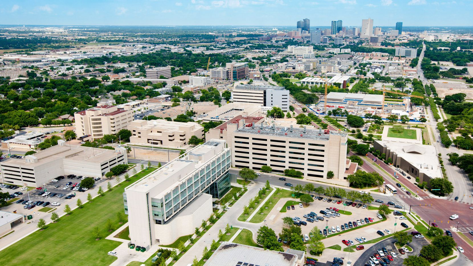Aerial photo of the University of North Texas Health Science Center in Fort Worth.