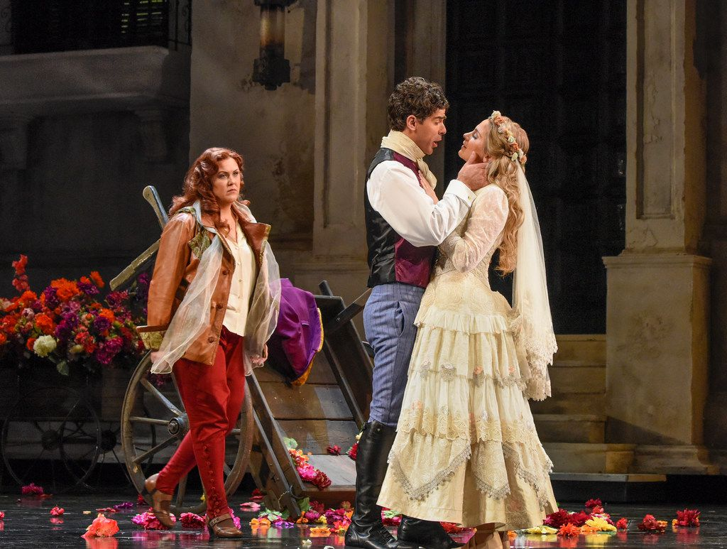 Katie van Kooten, left, as Donna Elvira, Craig Verm as Don Giovanni and Virginie Verrez as Zerlina, in dress rehearsal for the Dallas Opera's Don Giovanni, on April 10, 2018 at the Winspear Opera House.