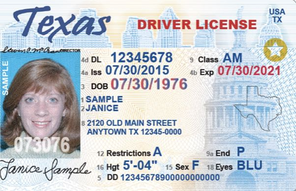 Notice the star in the upper right corner. If your driver's license doesn't have one, you can add replacing it to your to-do list.