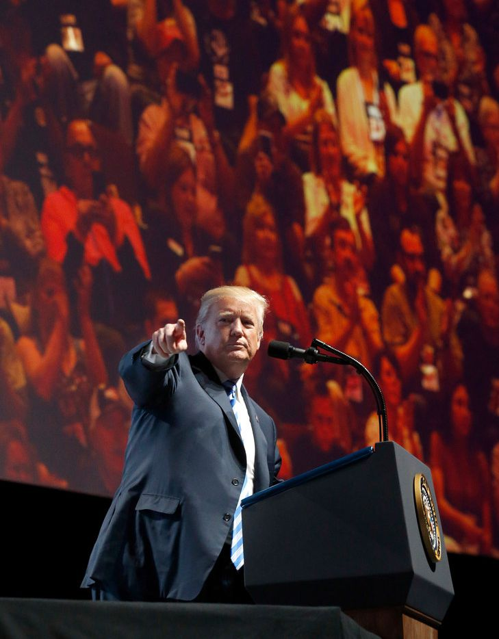 President Donald Trump pointed out Texas politicians and threw his endorsements behind them during his speech at the NRA Annual Meeting held in Dallas in 2018.