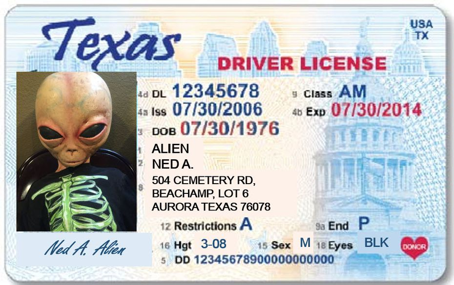 Ned got his own driver's license, made by promoters of an Aurora event commemorating the reported crash in 1897.
