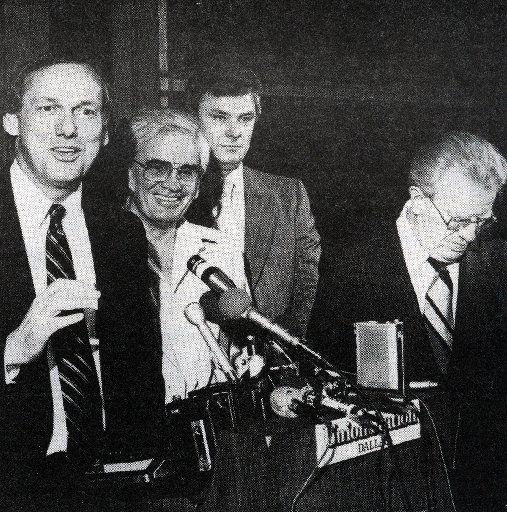 FILE - The May 1, 1980 announcement of the Dallas Mavericks franchise held at Union Station: From left to right: GM Norm Sonju, owner Donald Carter, Mavericks counsel/VP Doug Adkins and NBA commissioner Lawrence O'Brien.