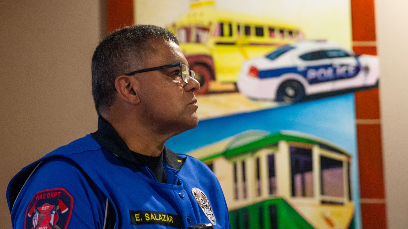 Ferris police chief Eddie Salazar waits before the city council meeting begins in Ferris, Texas, on Monday, Oct. 8, 2019. Monday's meeting included an agenda item to determine if the resignation of police chief Salazar would be accepted, and many came out to show support for Salazar. (Lynda M. Gonzalez/The Dallas Morning News)