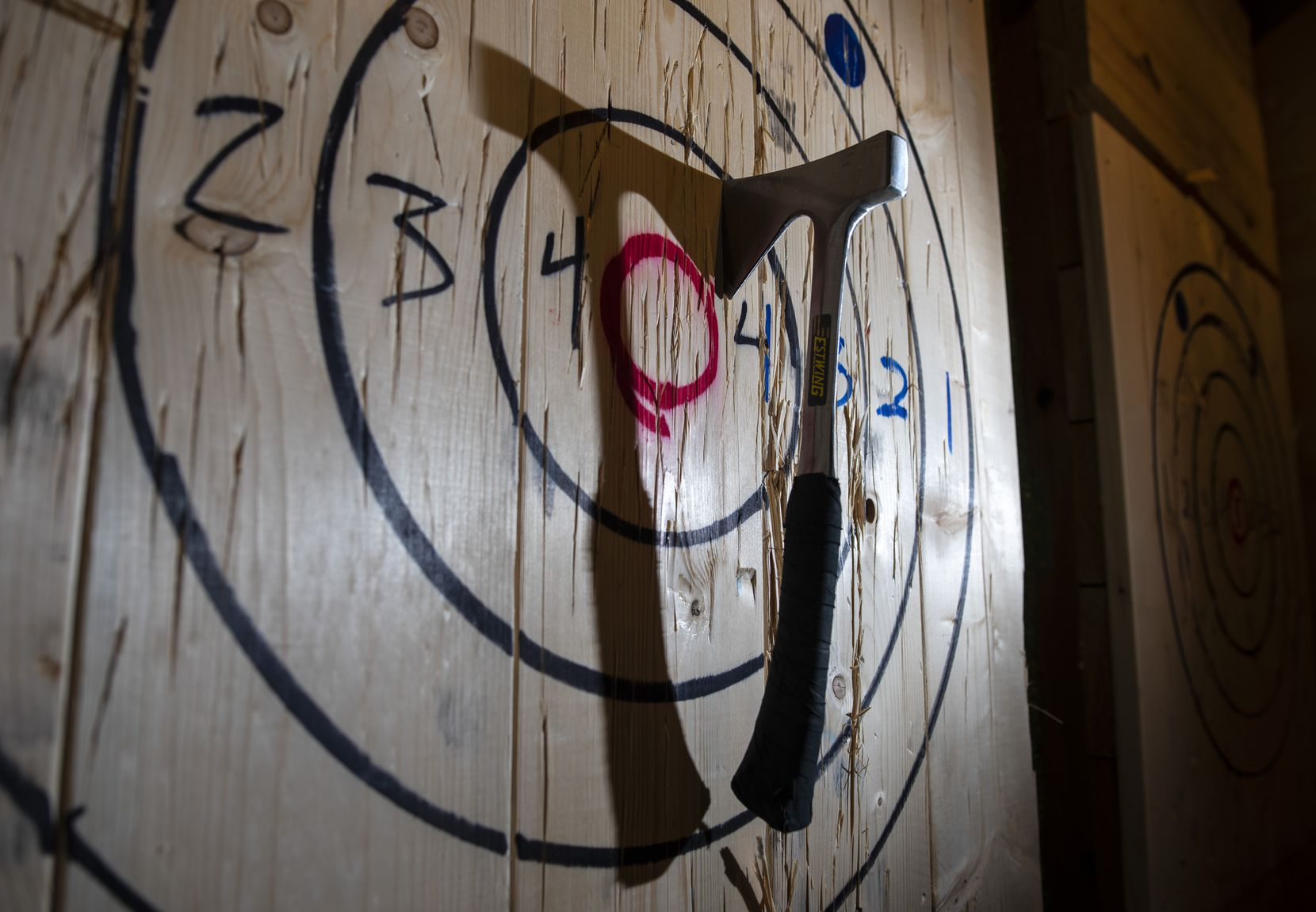Ax throwers aim at a target, like this.
