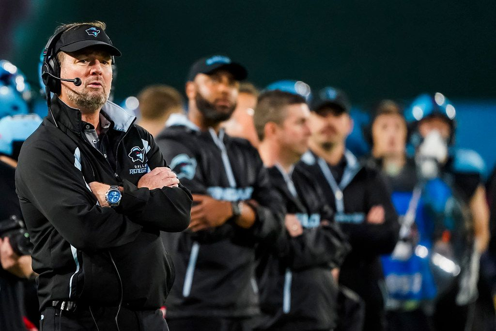 Dallas Renegades head coach Bob Stoops watches from the sidelines during the second half of an XFL football game against the St. Louis Battlehawks at Globe Life Park on Sunday, Feb. 9, 2020, in Arlington.