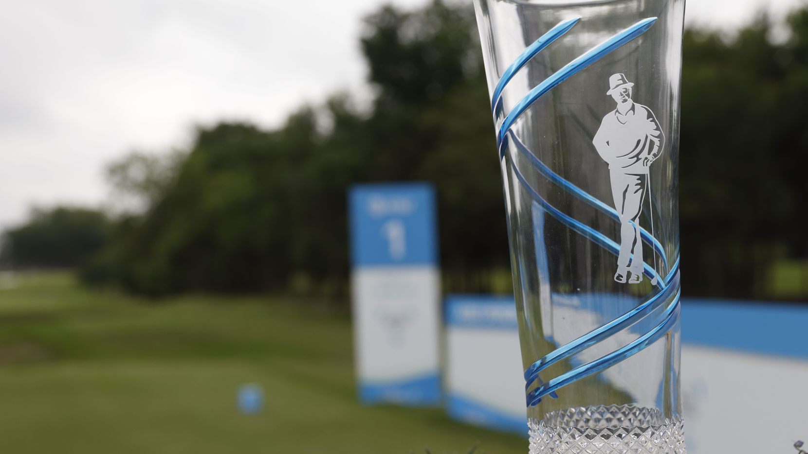 The AT&T Byron Nelson tournament trophy sat at the tee box of the first hole during Round 4 of the AT&T Byron Nelson at TPC Craig Ranch on May 16 in McKinney.