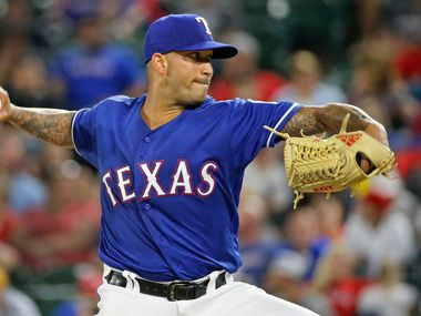 Texas Rangers pitcher Matt Bush is pictured during the New York Yankees vs. the Texas Rangers major league baseball game at Globe Life Park in Arlington, Texas on Monday, May 21, 2018.