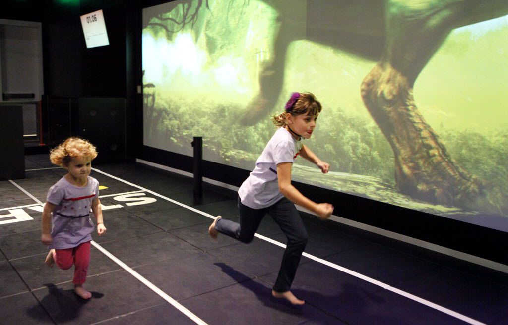 Youngsters can square off in races against a T-rex at the Perot Museum of Nature and Science.