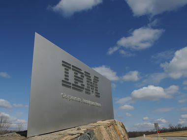 A sign marks the entrance to IBM corporate headquarters in Armonk, N.Y.