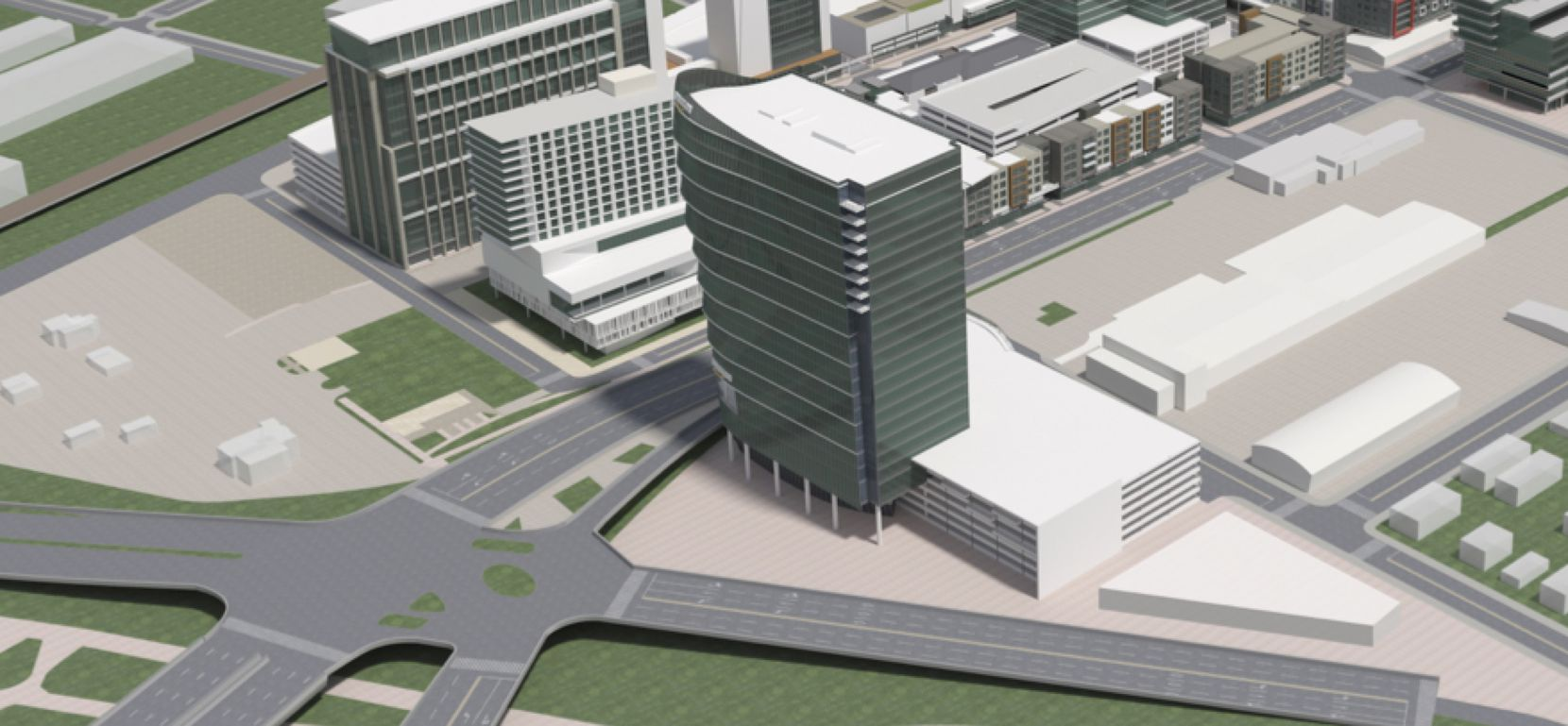 One of the buildings planned at Trinity Groves is a 400-foot-tall office tower overlooking the Trinity River.