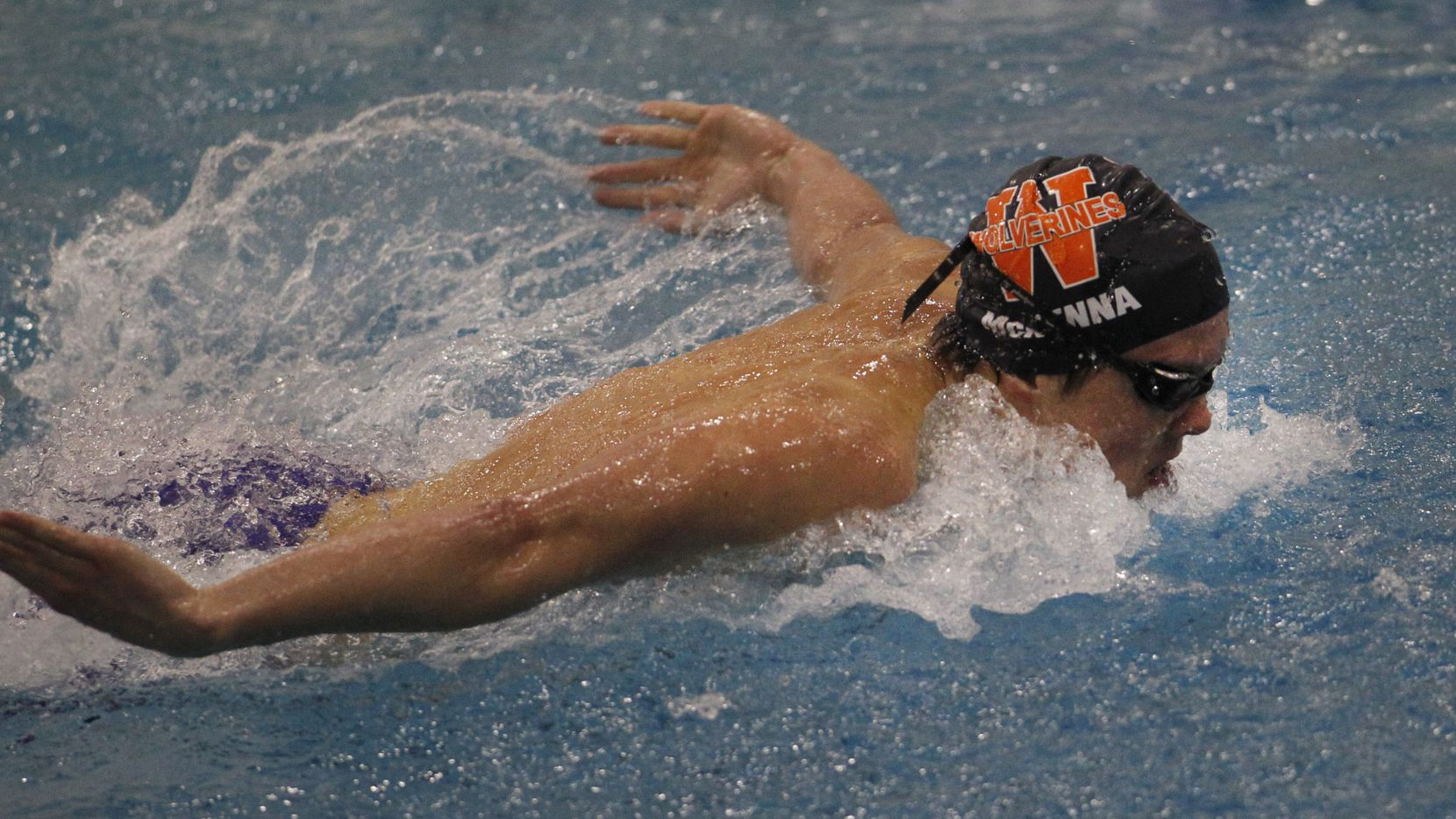 Frisco Wakeland's Conor McKenna powers to the finish line to win the Boys 100 yard Butterfly event with a Region record time of 48.48 seconds. The Class 5A Region lll UIL Swim Meet was held at the Bruce Eubanks Natatorium in Frisco on February 6, 2021. (Steve Hamm/ Special Contributor)