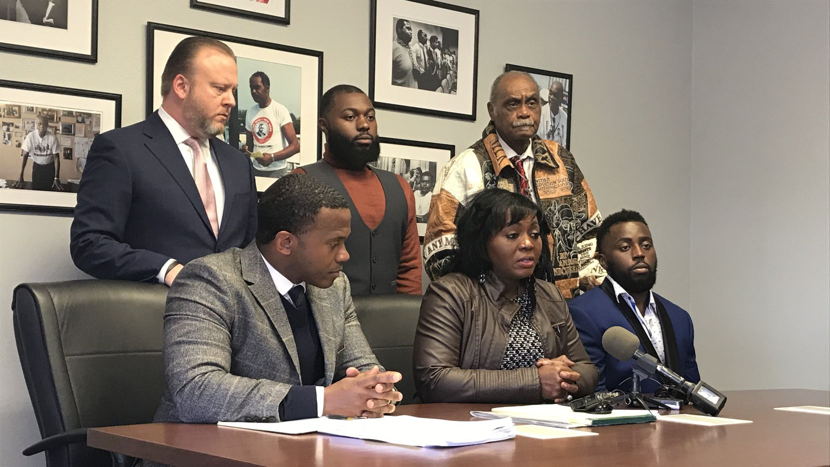 In a press conference to announce her filing of a federal civil rights lawsuit, Sammie Anderson, middle, describes the night DeSoto police officers roughed up her family in August 2018 after she called 911 for help. She and her lawyers said Dallas County District Attorney John Creuzot's decision not to prosecute any of the six officers left them with few options to try to hold the police to account.