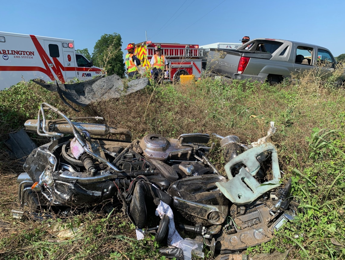Police said a motorcycle officer conducting a traffic stop had to be hospitalized after a suspected intoxicated driver veered off-road and crashed into the officer's motorcycle.