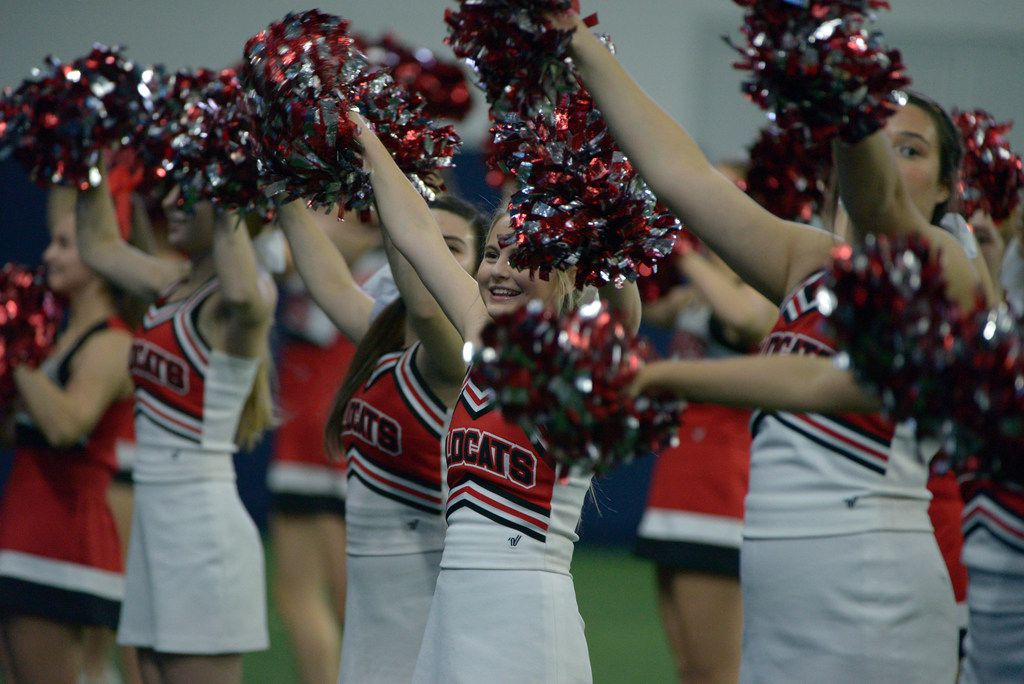 Lake Highlands cheerleaders in the first half of a Class 6A Division II area round high school playoff football game between Flower Mound Marcus and Lake Highlands, Saturday, Nov. 23, 2019, in Frisco, Texas. (Matt Strasen/Special Contributor)