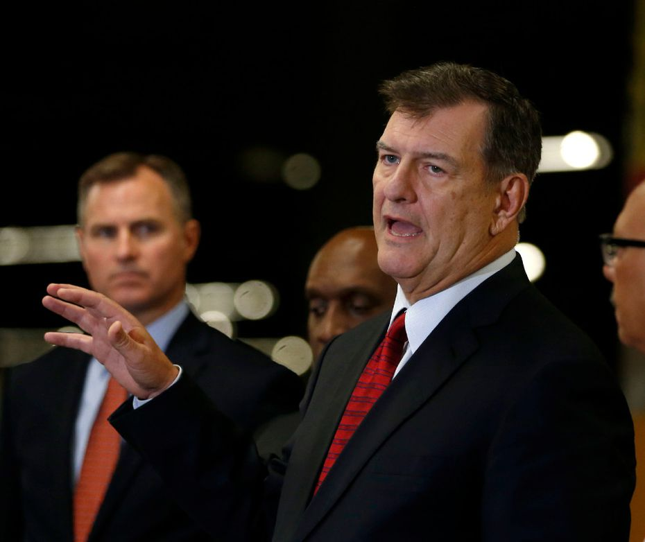 Dallas Mayor Mike Rawlings speaks during a news conference at the Kay Bailey Hutchison Convention Center, which is housing Gulf Coast residents. (Rose Baca/The Dallas Morning News)