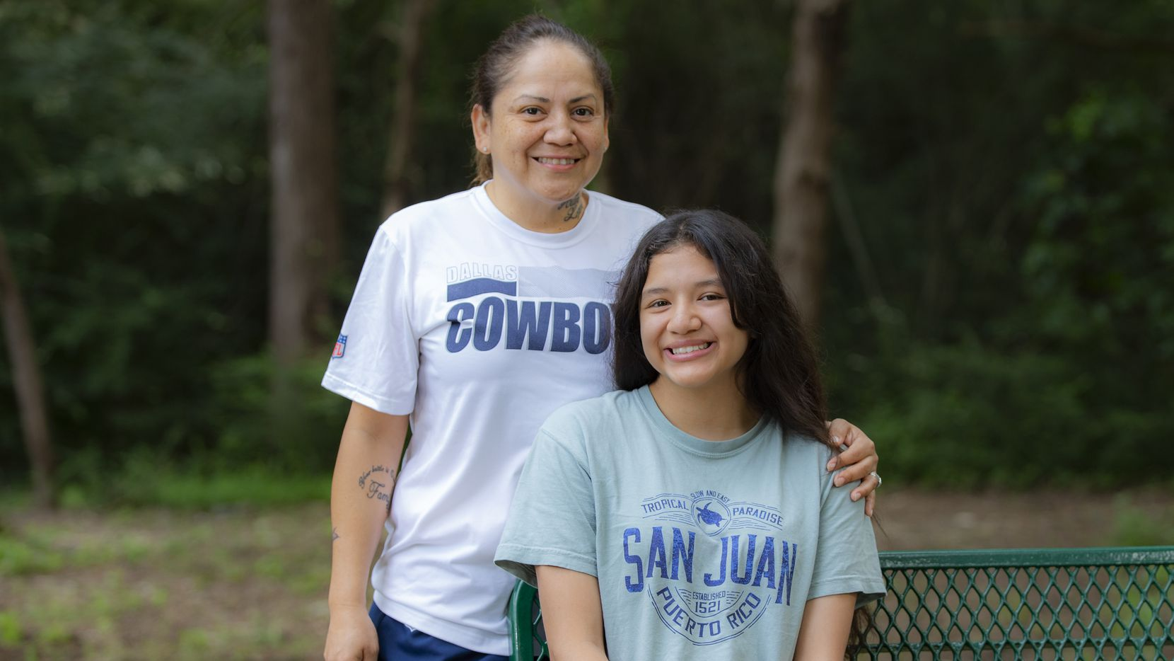 Diana Lopez and her daughter Ariel Lopez, 14, pose for a photo during a Girls Embracing Mothers camp the non-profit held at the STEM Center of Excellence in Dallas, Saturday, June 12, 2021. Girls Embracing Mothers provides services for girls with currently or formerly incarcerated mothers.